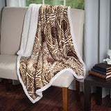Lavish Home Printed Coral Soft Fleece Sherpa Throw Blanket