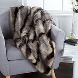 Lavish Home Luxury Long Haired Striped Faux Fur Throw-Algoma