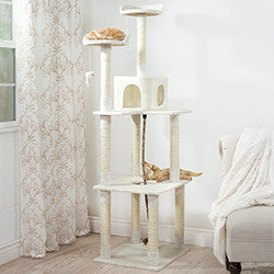 PETMAKER Sleep and Play Cat Tree - 6 ft tall - Ivory-Algoma