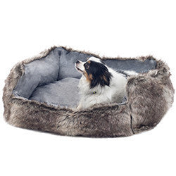 PETMAKER Medium Faux Fur Gray Wolf Dog Bed - 27 x 22 Inches-Algoma
