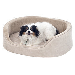 PETMAKER Small Cuddle Round Suede Pet Bed - Clay-Algoma