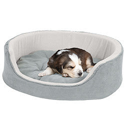 PETMAKER Large Cuddle Round Microsuede Pet Bed - Gray-Algoma