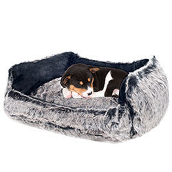 PETMAKER Faux Fur Black Mink Dog Bed - 23 x 19 Inch-Algoma