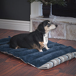 PETMAKER 24x37 Roll Up Travel Portable Dog Bed - Blue Stripe-Algoma