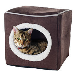 PETMAKER Cozy Cave Enclosed Cube Pet Bed - Dark Coffee-Algoma