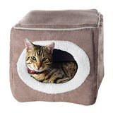 PETMAKER Cozy Cave Enclosed Cube Pet Bed - Light Coffee-Algoma