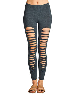 Ripped design stretch-knit leggings - 6 Color Choices - Ships From U.S.