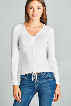 Ladies fashion long sleeves ruched effect top - Ships From U.S. - Algoma