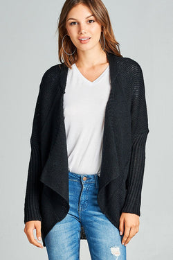 Ladies fashion cutaway open front lapel cardigan - Ships From U.S.