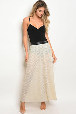 Ladies lining and sequin details sheer line maxi cut skirt - Ships From U.S.