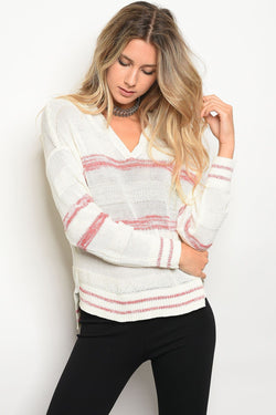 Ladies sweater top with a hood and V-neckline - Ships From U.S.