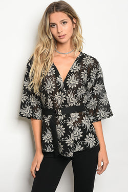 Ladies embroidered detail wrap top - Ships From U.S.