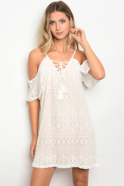 Ladies fashion open shoulder lace lined shift dress - Ships From U.S.