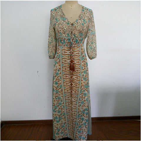 Women's Long Floral Hippie Dress-Algoma
