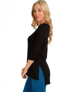 BLACK HI-LO TUNIC TOP WITH SIDE SLITS T1805 - Algoma