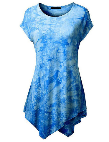 Women's Oval Neck Tie-Dye Long Top with Irregular Hem-Algoma
