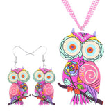 Bonsny Owl Necklace and Earrings-Algoma