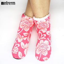Women Flower Pattern Floor Socks-Algoma