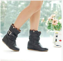 Woman PU Leather Casual Buckle Lace Vintage Ankle Boots-Algoma