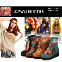 Indian Style Retro Fringe Boots-Algoma