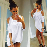 Oversize T Shirt - Short Sleeve - Off Shoulder - Loose Fit-Algoma