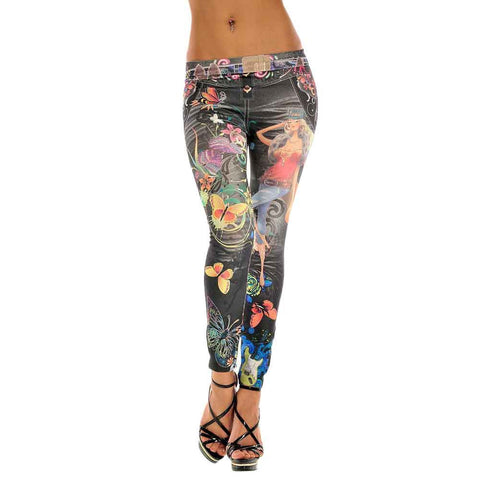 Flower Print Blue Faux Jean Leggings-Algoma