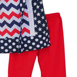 Toddler July 4th Top Red Ruffle Pants Stars Print-Algoma