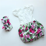 Baby Vintage Girl's Romper with Matching Headband-Algoma