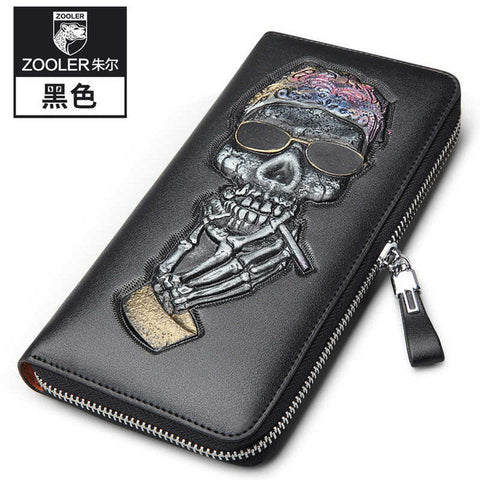 ZOOLER Designer Long Business skull pattern wallet