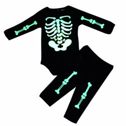 Baby Girl Skull Luminous Long Sleeve, Pants and Hair Band Three-Piece Suit-Algoma