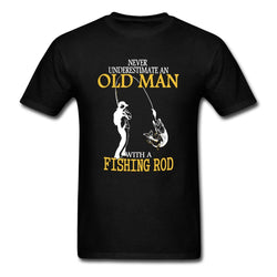 Men's Never Underestimate An Old Man Fishing T Shirt-Algoma