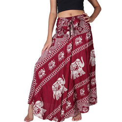 Women Bohemian Hippie Red Elephant Skirt