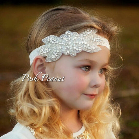 1PC Girls Headband Lace Rhinestone Flower-Algoma