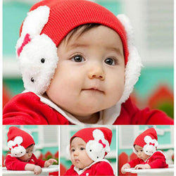 Cute Cartoon Bow-knot Children's Wool Knitted Beanie Cap-Algoma