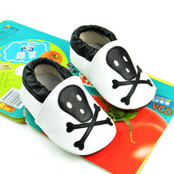 Genuine Leather Baby Moccasins Black Skull-Algoma