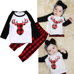 Baby Boy Girl Clothes Set 2PCS Bebes Deer Top T-shirt Red Plaid Pant Outfit-Algoma