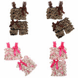 Summer Style Baby Girl Floral Print Ruffled Petti Top And Pants Outfit-Algoma