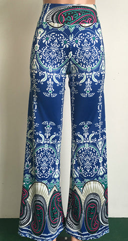 Women's High Waist Printed Wide Leg Pants-Algoma