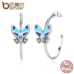 BAMOER 100% Sterling Silver Round Circle Earrings with Blue Butterfly-Algoma