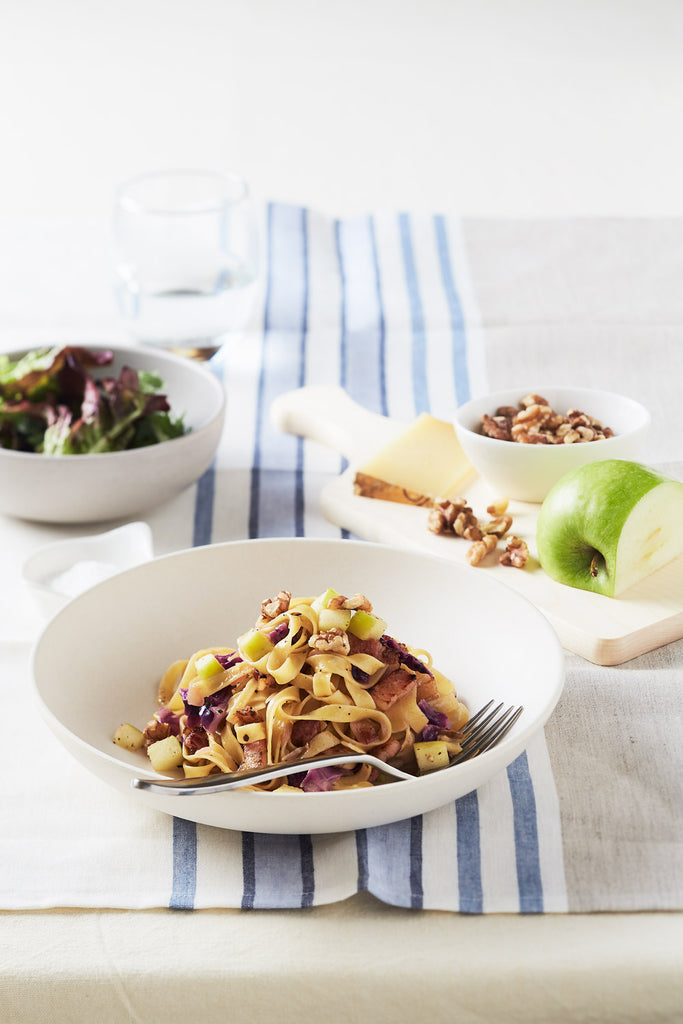 Tagliatelle with Speck, Red Cabbage, Apple & Walnuts