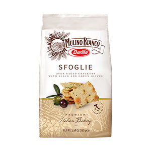 Mulino Bianco Barilla Sfoglie Biscuits, Crackers with Black & Green Olives 10x150g