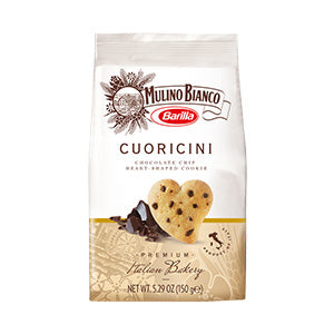 Mulino Bianco Barilla Cuoricini Biscuits, Chocolate Chip Heart Shape Cookies 10x150g