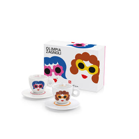 Illy Olimpia Zagnoli Illy Art Collection 2 Cappuccino Cups & Saucers
