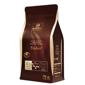 Cacao Barry White Zephyr Less Sweet White Couverture 34% (4 x 5kg Pistols)