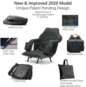 New 2020 Model -Foldable Reclining Stadium chair with Legs