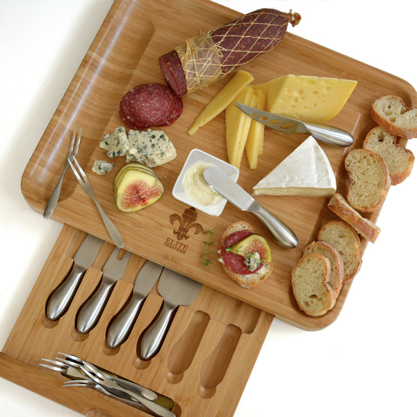 Premium Cheese Board & Knives & 3 Ceramic Dishes Set