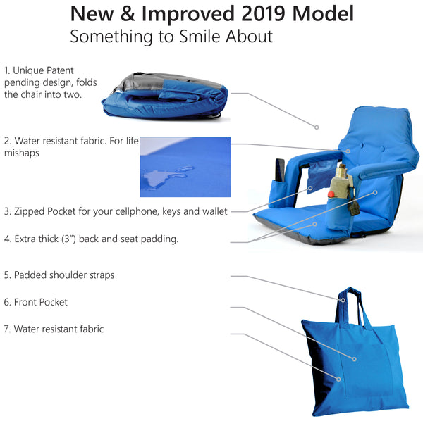 Foldable Stadium Chair For Bleachers - New & Improved 2019 Patent Pending Deluxe Model + Free Carry Bag