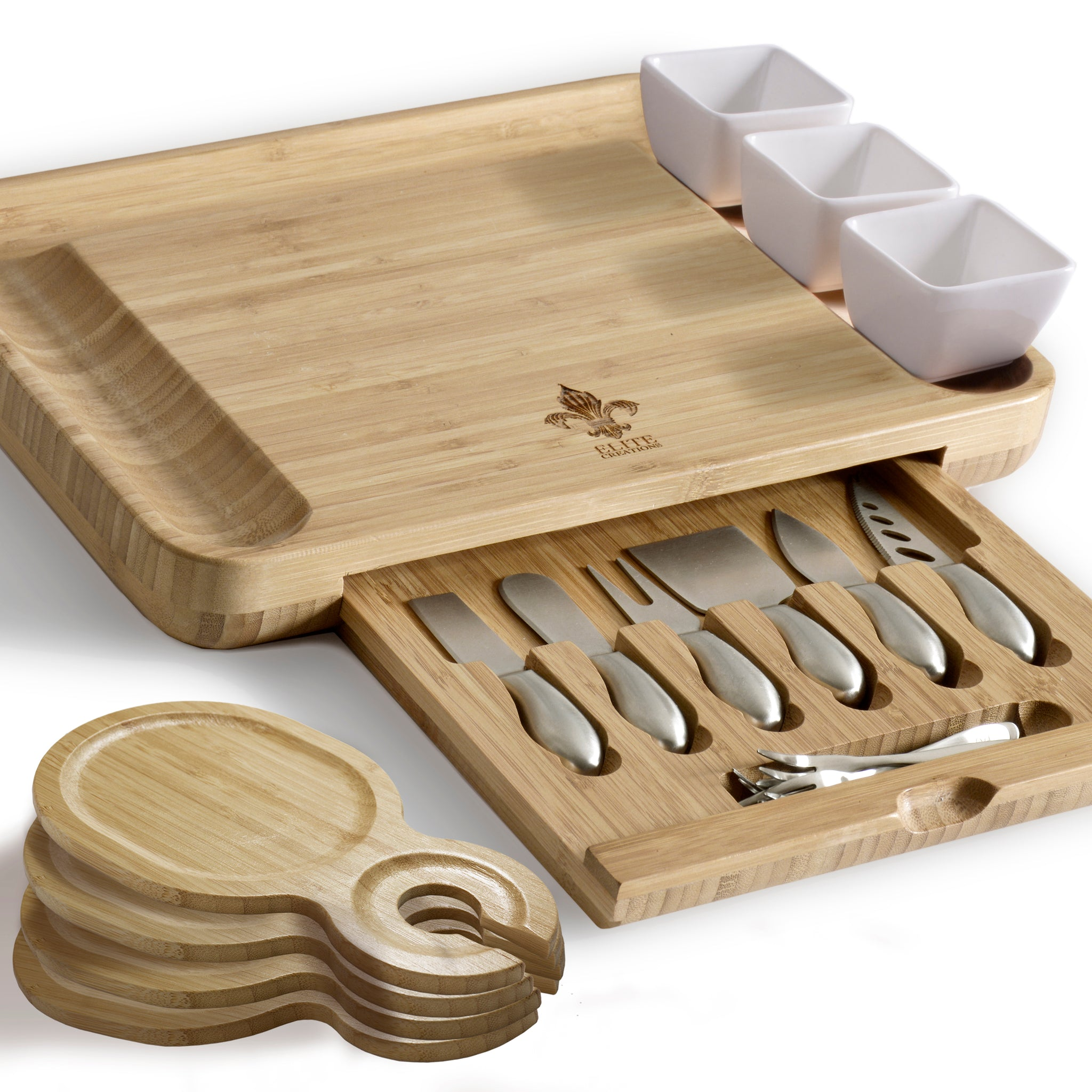 Deluxe Cheese Board Set -6 Knives & 3 Ceramic Dishes & 2 Fruit Trays