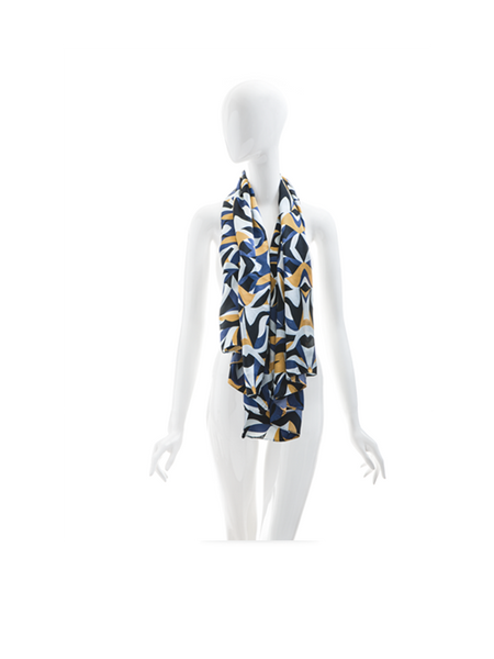 Concept store blue white and dark silk cashmere stole munana gatera brussels one