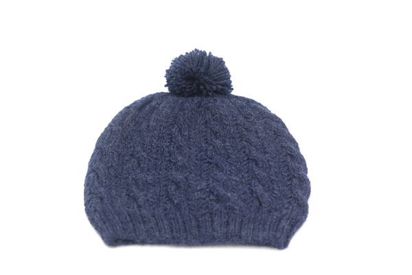 Concept store brussels Bellepaga baby alpaca blue twisted beanie with pompom two